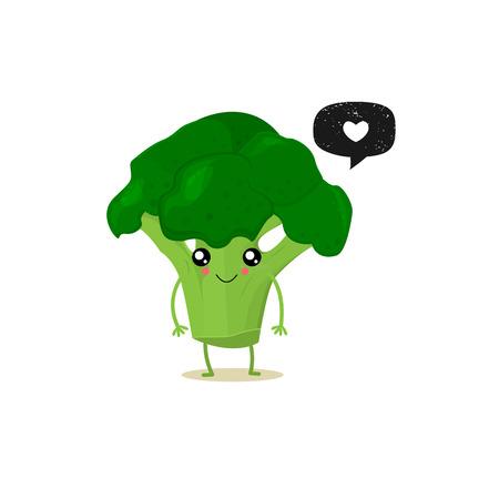 Cure el brócoli con burbujas de discurso. Insignia de grunge negro. Etiqueta engomada del globo Simbolo de corazon. Ilustración vectorial Fondo blanco.