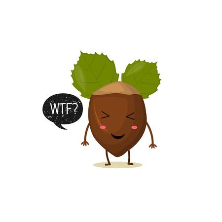 Nut with speech bubble. Black grunge badge. Balloon sticker. WTF Vector illustration. White background. Illustration