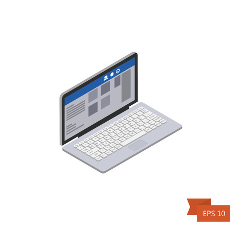 Laptop. Isometric icon. Social network interface Vector illustration