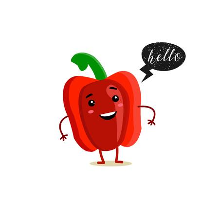 Red pepper with speech bubble. Black grunge badge. Balloon sticker. Hello. Vector illustration. White background.