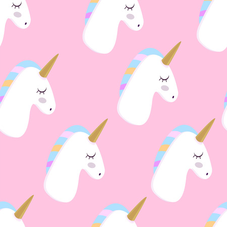 Unicorn. Vector illustration. Pink Background Seamless pattern