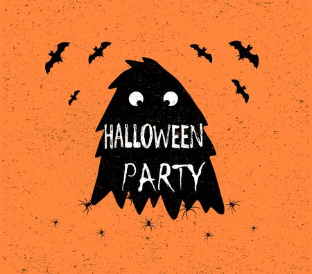 Halloween party text inside creature. Vector illustration, eps10