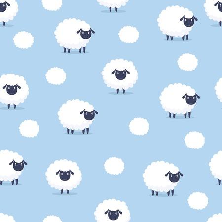 Cartoon sheep seamless pattern. Çizim