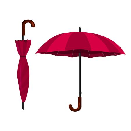 Illustration of an opened and closed umbrellas.