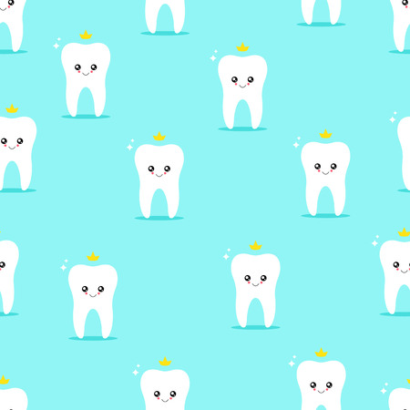 Tooth character. Seamless pattern. Vector illustration Wallpaper