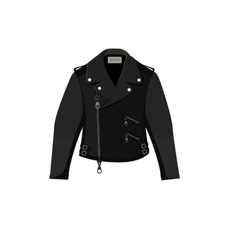 Black leather jacket. Vector illustration on white