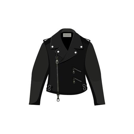 Black leather jacket. Vector illustration on white