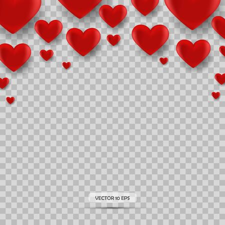 Red heartisolated. Valentine s day background with red heart icon. Vector. 3d realistic icon Illusztráció