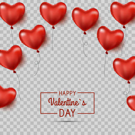 Red heart shaped balloons. isolated. Valentine s day background with red hearts balloons. Vector illustration