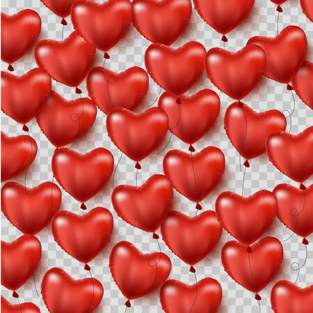 Red heart shaped balloons. isolated. Valentine s day background with red hearts balloons. Vector