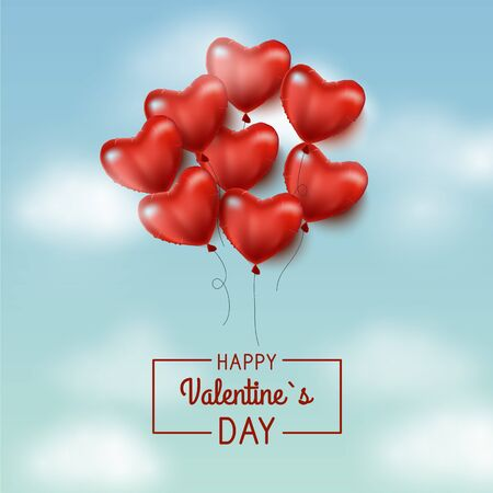 Valentines day sale background with Heart Shaped Balloons. Vector illustration.Blue sky and clouds