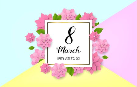8 March - happy women s day. Spring blue background with beautiful colorful flower. Vector illustration