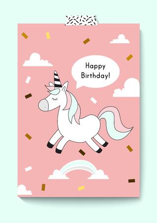 Cute unicorn doodle. Happy birthday card. A4 size. Magic unicorn. Vector. Stock Vector - 95311917