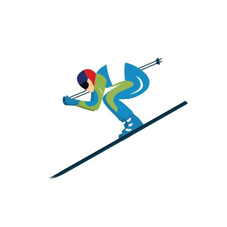 Skier sportsman vector illustration isolated on white 일러스트