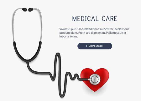 Soins médicaux. Icône et coeur de stéthoscope réaliste. Illustration vectorielle.