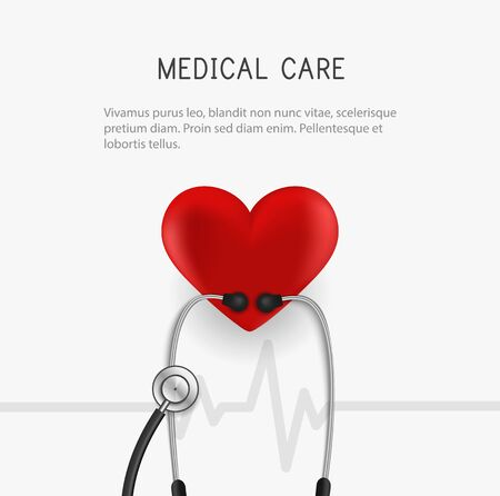 Medical banner. Stethoscope and heart. Vector