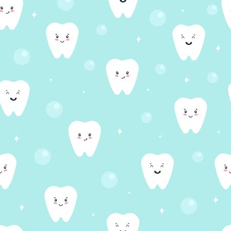 Seamless pattern with cute teeth. Vector illustration. Ilustração