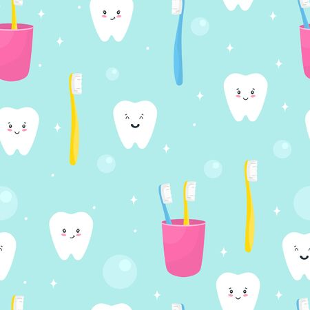 Seamless pattern with cute teeth, toothbrush. Vector illustration
