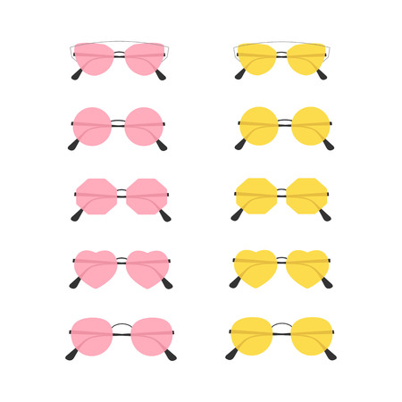 Set of trendy summer sunglasses. Illustration