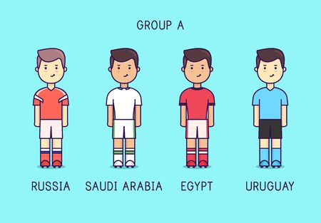 Group A. Soccer players with jersey kit. Иллюстрация