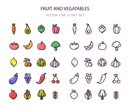 Fruit and vegetables. Organic food. Line icons. Outline stroke.
