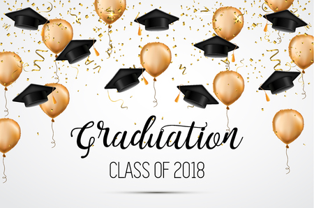 Afstudeerklas van 2018. Gefeliciteerd afgestudeerden. Academische hoeden, confetti en ballonnen. Viering Vector