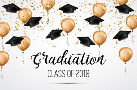 Clase de graduación de 2018. Felicitaciones graduados. Sombreros, confeti y globos académicos. Vector de celebración