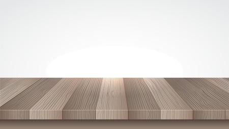 Wooden table. Wood shelf. Isolated on white. Vector illustration 일러스트