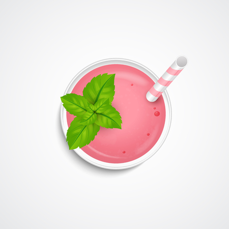 Summer smoothie, cocktail, drink, shake with mint leaves and straw for beverage . Top view. Realistic 3d icon. Vector.