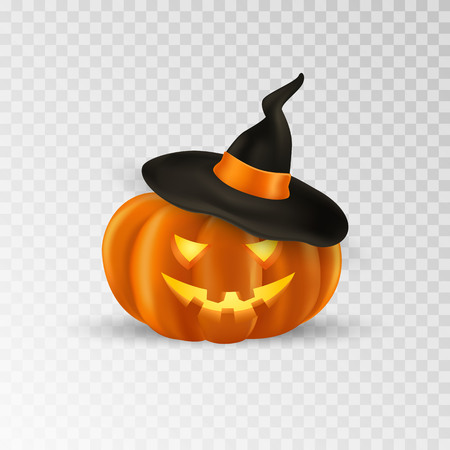 Halloween pumpkin with witch hat. Scary pumpkin icon with smile. Isolated. Vector illustration 일러스트