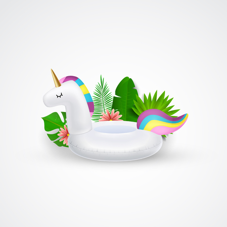 Unicorn inflatable swimming pool ring, tube, float. Layout for banners, wallpaper, flyers, invitation, posters brochure voucher discount