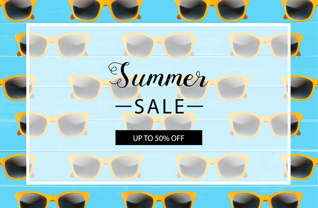 Summer sale background layout for banners. Vector illustration. Blue wooden background.