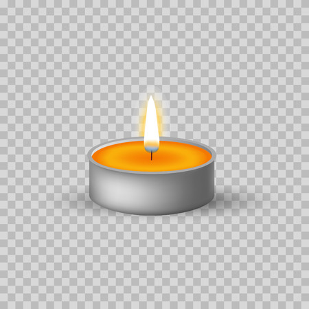 Candle 3d icon. Tea light candle isolated on the background. Vector illustration
