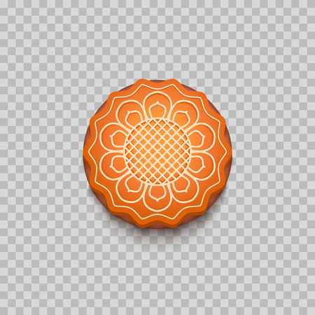 Moon cake. Traditional Chinese mid autumn festival food. Isolated. Vector illustration
