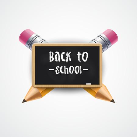 Back to School Poster Design. School blackboard with 3d pencils. Vector illustration