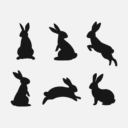 Rabbit set. Isolated on white background. Bunny silhouettes. Vector illustration