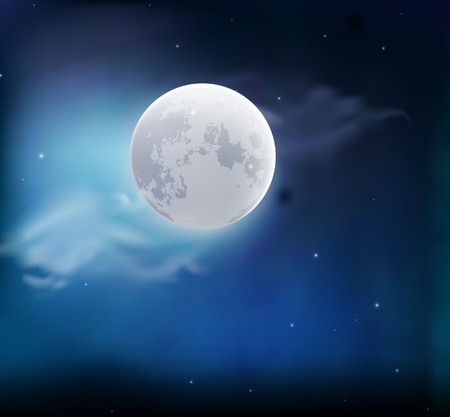 Moon in the sky with clouds. Night landscape. Vector illustration 일러스트