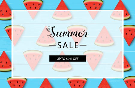 Watermelons. Summer sale background layout for banners. Vector illustration. Blue wooden background