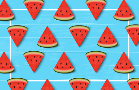Watermelon slices on blue wooden background with a border. Watermelon background. Vector illustration 일러스트