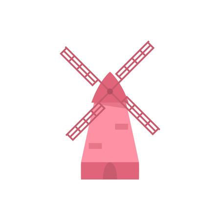 Pink Windmill icon. Isolated on white. Vector illustration Reklamní fotografie - 114863909