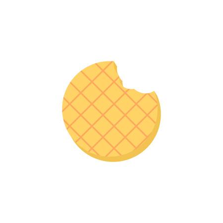 Waffle. Waffle icon with bite. Isolated Vector illustration 일러스트
