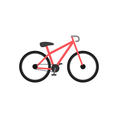Bike icon. Simple flat style. Red bicycle. Vector illustration