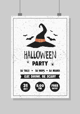 Halloween party poster design. Vintage grunge texture. Witch hat and text.