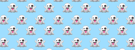 Halloween background with cute ghosts. Vector illustration