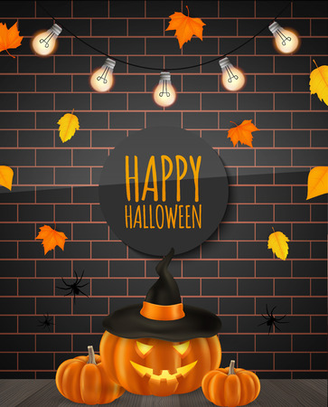Happy Halloween poster layout. Scary pumpkins, autumn leaves, brick wall, garland. Vector illustration
