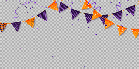 Halloween party decorations. Halloween flags - violet and orange. Vector illustration