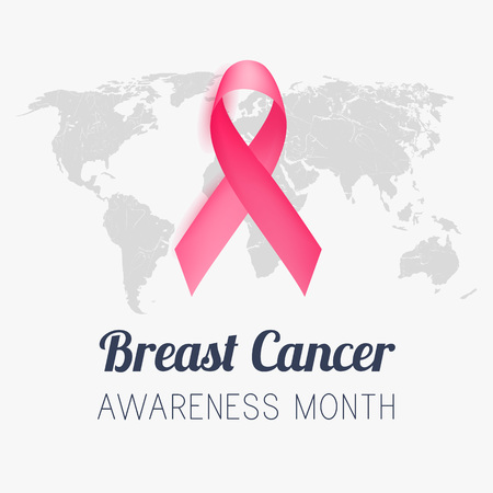 Breast cancer awareness month. Pink ribbon. 일러스트