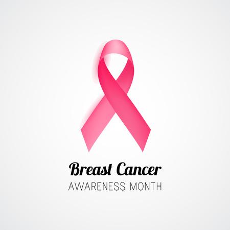 Breast cancer awareness month. Pink ribbon. Illustration