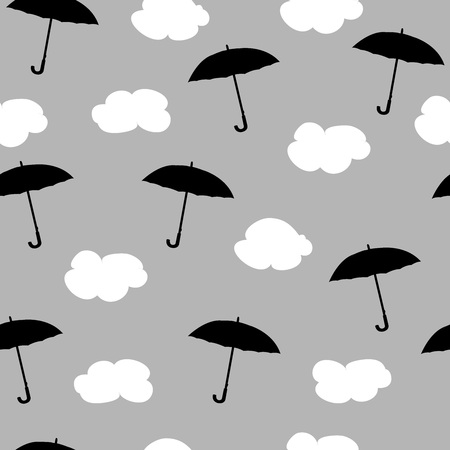 Rain, clouds and umbrellas. Seamless pattern. Vector illustration