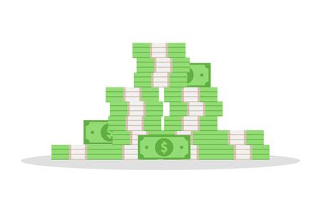 Dollar. Geldstapel. Isolierte Vektorillustration Vektorgrafik